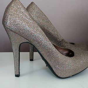 Multicolored glitter heels